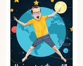 You're Out of this World Valentine's Day Card of Boy in space. Artistic greeting card with printed from whimsical drawing. Will personalize.