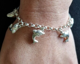 Vintage Sterling Silver Dolphin Bracelet (st - 2119)