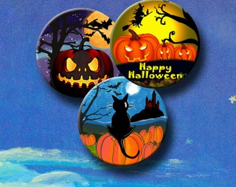 HALLOWEEN  -  Digital Collage Sheet -  2.5 inch round images for Pocket Mirrors, Magnets, Paper Weights etc. Instant Download #224.