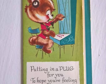 Vintage Operator Bear Get Well Greeting Card -- Retro 1960's Sentimental Snail Mail Collectible -- Old Timey Telephone Print Fun Home Decor
