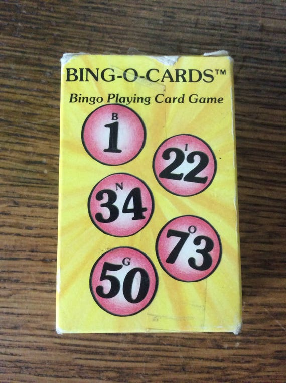 Bing-O-Cards, vintage Bingo Playing Card Game, ideal for vacations, picnics, beaches, bus and car trips, mobile bingo card game vintage game