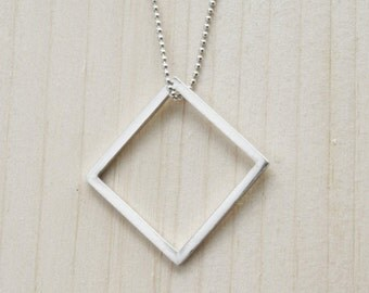 Minimalist geometric square necklace, Minimalist necklace, Minimalist jewellery, Geometric jewellery, Gift for her