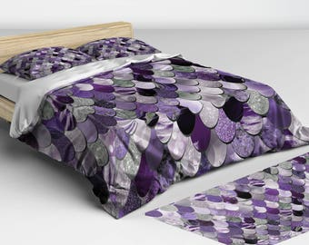 Mermaid Bedding Purple -  Duvet Cover - Mermaid Bedding - Twin, Full, Queen, King Sizes - Matching Lumbar Pillow Available