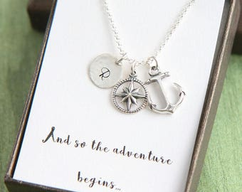 Compass Necklace, Anchor Compass Necklace, Personalize Necklace, New Job, First Day Gift, College Graduation, And so the adventure begins