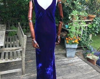 Vintage 90's purple crushed velvet bias cut maxi length evening dress Monsoon approx UK 12 US 8