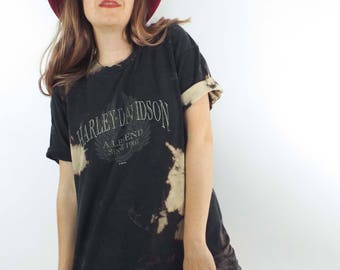 Vintage 90s Distressed and Bleached Oversized Harley-Davidson Tee