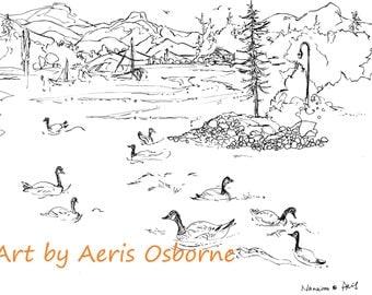 Happy Gesses Printable Adult Coloring,Relax ,Lake,Ink Pen,digital download,Illustration,Ink Pen Drawing,Art by Aeris Osborne