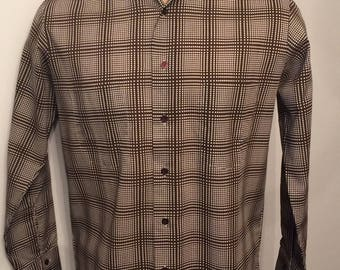 "Vintage MENS 1970s Sears Kings Road brown & white ""pop art"" plaid shirt, size M, dead stock"