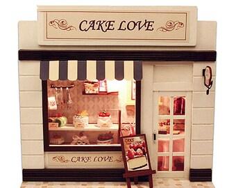 Cake shop kit * European Miniature Shop Series* DIY Handcraft Wooden Project  * Light * DIY Handcraft Miniature Project * Birthday Gift