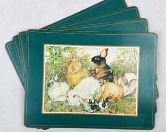 "Vintage Pimpernel Placemats Bunny Rabbits Easter Cork Set of 4 15.75"" x 12"" Made in England"