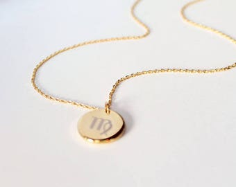 Custom Engraved Zodiac Sign Necklace, Gold Silver Or Rose Gold, Birth Sign, Star Sign, Astrology Necklace, Horoscope, Choker, Zodiac Disc