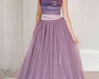 2 piece tulle evening dress, crop top and tulle skirt, prom tulle skirt, lavender tulle skirt