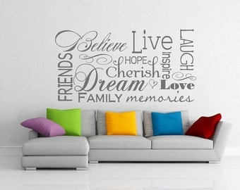 Believe live laugh love friends collage wall decal vinyl door decals livingroom family welcome Lettering  words  quotes  Home decor bedroom