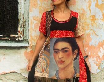 M Frida Kahlo patchwork  recycled hippie boho  tunic dress