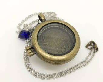 Pocketwatch Floating Locket - silver rolo chain with blue bangle