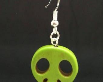 Green howlite skull earrings