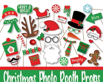 Christmas Photo Booth Props, Banner and Decorations - Christmas Printable Props - Includes over 60 Props in PDF Format - INSTaNT DOWNLoAd