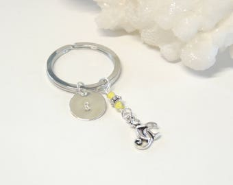Monkey Key Chain with Initial, Hand Stamped Key Ring, Key Chains, Customized Gift, Personalized Unisex Gifts, Monkey Gift