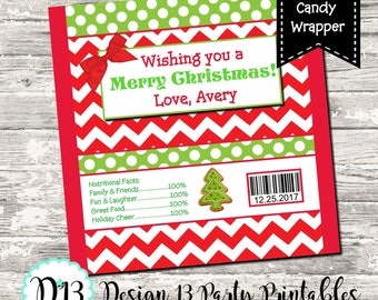 Christmas Red Chevron Candy Bar Chocolate Bar Wrappers Favor Print Your Own Digital