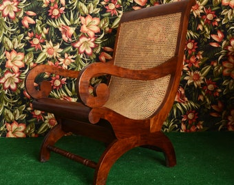 Large British Colonial Plantation Chair with wicker seat