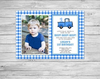 Little Blue Truck Birthday Invitation Printable, Truck Birthday Invitation, Little Blue Truck Invite, Little Blue Truck