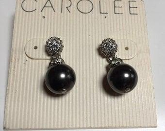 Carolee Faux Black Pearl Drop Earrings