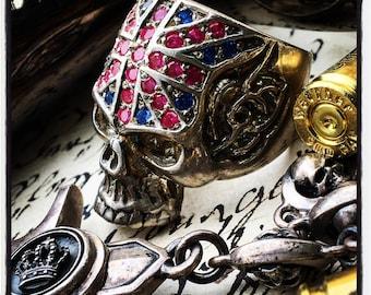 Skull Ring Silver Skull Ring Union Jack Skull Ring British Flag Skull Ring British Skull Ring England Flag Ring Union Jack Union Jack Ring