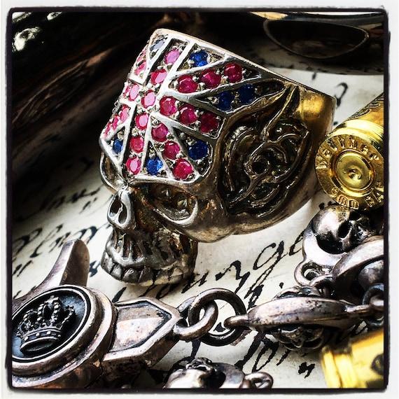 Etherial Jewelry - Rock Chic Talisman Luxury Biker Custom Handmade Artisan Pure Sterling Silver .925 Bespoke Union Jack Skull Badass Ring