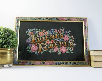 Friends Forever - 18x12 Colorful Flower Cross Stitch Embroidery Art Vintage Framed Fiber Art Girls Pink Bedroom Decor Best Friends Quote Art