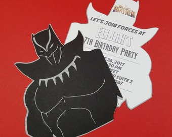 Black Panther Invitations, Black Panther, Marvel Invitations, Marvel SuperHero, Boy Birthday Invitation, Party Invitations, Set of 10