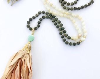 Moonstone Mala, Mala Necklace, Mala Beads, Tassel Necklace, Knotted Mala, Labradorite Mala, Prayer Beads, Sari Tassel Mala, Mala, LMSS