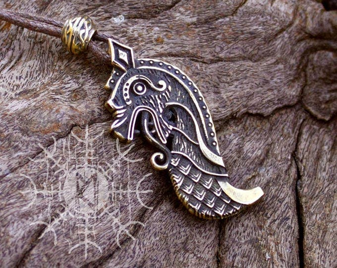 Bronze Drakkar Oseberg Bow Viking Dragon Ship Scandinavian Norse Nordic Amulet Pendant Necklace
