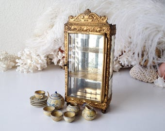 Antique doll vitrine mini treenware wood dishes set German miniature cabinet French style curio ornate metal display case small shelf