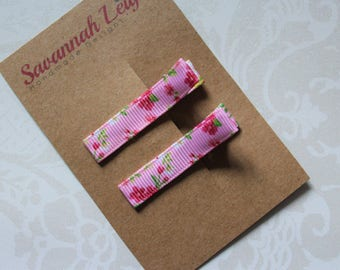 Pink floral print hair clips girls grosgrain ribbon