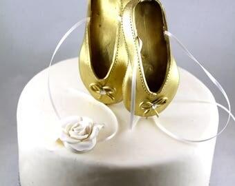 Ballerina Cake Topper Gold Ballet shoes cake topper Birthday cake topper Ballerina cake decorations Ballerina birthday decor Ballerina cake