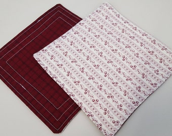 Quilted mug rugs or snack mats - 1 pair - each approx 7 inches square
