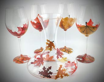 5 piece wine set, Fall Leaves Wine Glasses with Carafe, Thanksgiving wine set, Wine Carafe, Hand Painted wine glasses, Autumn wine set,