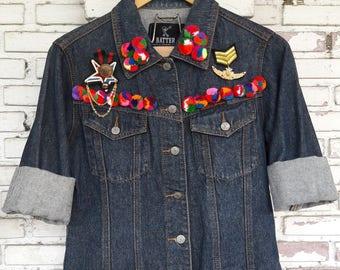 Hand-Reworked Pom Pom Vintage Jean Jacket / Pom Pom Vintage Denim Jacket / Reworked Vintage Jean Jacket with Pom Pom