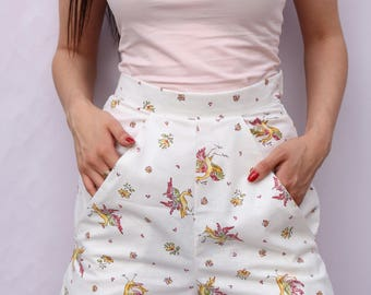 High Waisted White Cotton Shorts UK Size X-Small (6-8) White Floral vintage cotton pin up style shorts handmade by The Emperor's Old Clothes