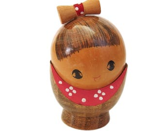 Enchanting Vintage Kokeshi Doll by Award Winning Artist Toa Sekiguchi. Rare. Kindai Kokeshi. Japanese Doll. Sosaku Kokeshi Doll. Big Eyes.