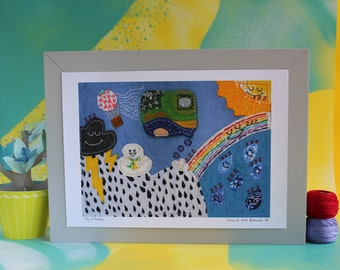 Clouds print - Weather - baby cloud and rainbow print for nursery or bookshelves - A4 print