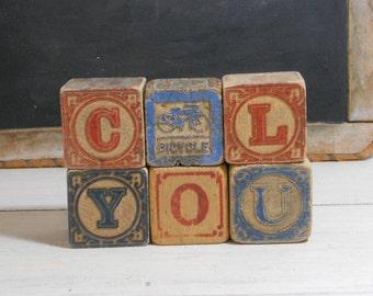 Six Antique Toy Wood Blocks - Alphabet Blocks