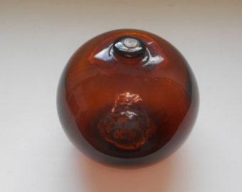 Vintage Glass Fishing Float - Amber - Nautical