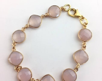 Rose Chalcedony Bracelet - Rose Chalcedony Jewelry - Gifts Under 50 - Jewelry Gift - Pink Bracelet - Chain link Bracelet - Rose Links