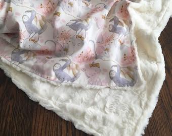 Pink and Grey Sloth Bunny Kitten Crib Blanket/ Baby Girl Bedding/ Pink and Grey Baby Bedding