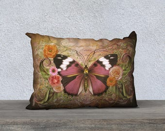 vintage style velveteen or canvas butterfly pillow cover