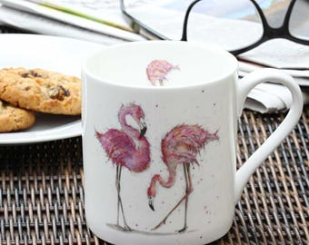 Flamingo Gift - Flamingo Mug - Pink Mug, Fine Bone China -Christmas Gift, New Home Gift, Made in England, Tropical Theme