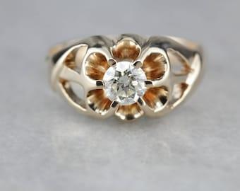 Men's Diamond Solitaire, Antique Belcher Ring, Men's Engagement Ring 9FPPRC-N