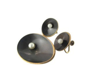 Hogan Bolas Ovals / Modernist Faux Pearl Set / Brass Bronze Copper Pin / Screw Back Earrings/ Minimalist Jewelry