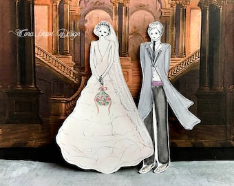 Original Watercolor Painting Bookmark Pair - Bride and Groom Bookmarks - Watercolour Paper Doll Book marks - Wedding Bookmark - Wedding Gift